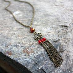 Collier de style vintage en perles tchèques et laiton. Une création Les 3 oranges. #collier #rétro #handmade #mode