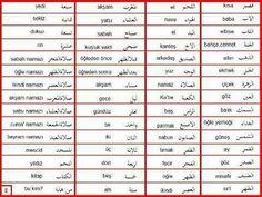مصطلحات في اللغة التركية وترجمتها باللغة العربية