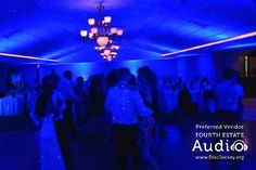 Chicago wedding DJ lighting by Fourth Estate Audio created a fantasy wonderland at Riverview Banquets. Learn more about our lighting options at http://www.discjockey.org/lighting-uplighting-options/.