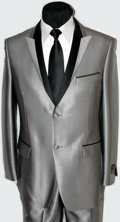 Microfiber Two Button Silver Tuxedo Fashion Peak Lapel Tuxedo