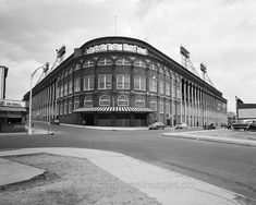 Ebbets Field Rotunda Entrance, 1950. Charlie Ebbets acquired adjacent parcels of land in Flatbush over several years until he had enough space to build a stadium. Construction of Ebbets field began in 1912, and the Brooklyn Dodgers played their first exhibition game in Ebbets Field against rivals the New York Yankees on April 5, 1913. The stadium was the home of the Dodgers until their move to L.A. at the end of the 1957 season.