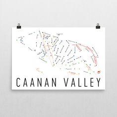 Caanan Valley Ski Map Art, Caanan Valley WV, Caanan Valley Trail Map, Caanan Valley Ski Resort Print, Caanan Valley Poster, Art, Gift