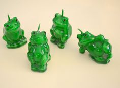 Frog candles for weddings, cupcake toppers, party favors, wedding reception decor, gifts  Set of 4