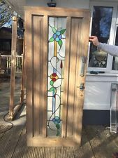 RESTORED STAINED GLASS FRONT DOOR ART DECO OLD RECLAIMED ANTIQUE LEADED PERIOD