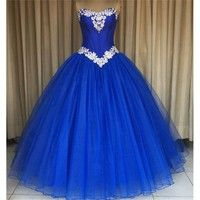 2b92707106 Royal Blue Long Ball Gown Prom Dresses 2017 Sweetheart Beaded Lace  Appliques Simple Vintage Quinceanera Dresses Formal Prom Party Gowns