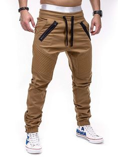 Betterstylz VenomBZ Biker Chino Jogger Harem Style Jogginghose Fitness Trainingshose in Braun (S) Jogging Style, Jogger Pants Style, Mens Jogger Pants, Brown Joggers, Chino Joggers, Pantalon Long, Style Masculin, Herren Outfit, Men Style Tips