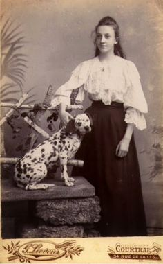 Vintage Doggy: A Young Girl and Her Dalmation