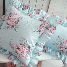 shabby chic pillow. Love this fabric!