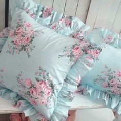 shabby chic pillow. Love this fabric!