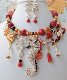 Nautical Statement Necklace Betsey Johnson Seahorse Lobster Handcrafted #ClaireKernCreations #Choker