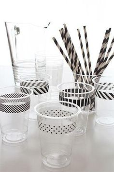 Washi tape on cups... simple and cute!