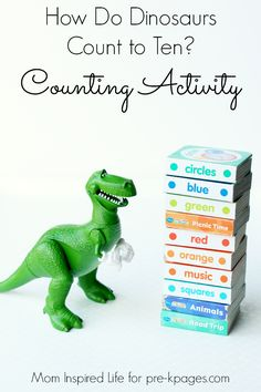 How Do Dinosaurs Count to Ten? Fun, interactive counting activity to help teach and reinforce basic counting skills in preschool. (september activities for preschool) Dinosaurs Preschool, Dinosaur Activities, Counting Activities, Preschool Literacy, Preschool Books, Kids Learning Activities, Infant Activities, Kindergarten Math, Toddler Preschool