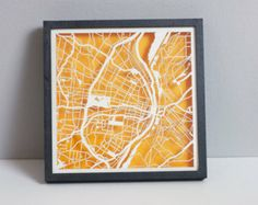 "St. Louis Laser Cut Map With Minimal Shadowbox Frame- 8"" city map"