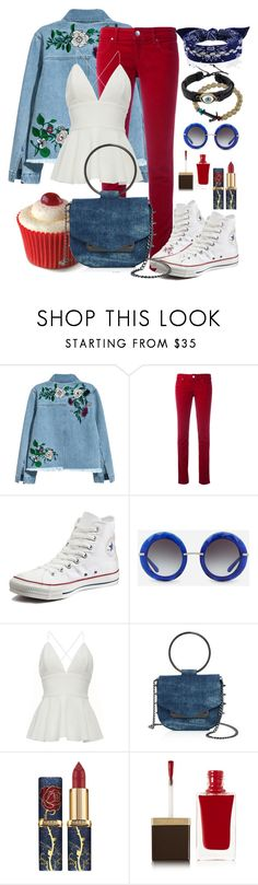 """""""Colored Denim Spring Style"""" by kaurcoffee ❤ liked on Polyvore featuring H&M, Armani Jeans, Converse, Dolce&Gabbana, Kipling, Nasty Gal and Tom Ford"""