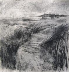 @janine_baldwin #DrawingAugust Picking up textures through wafer thin newsprint - windswept #landscape #LandscapeDrawing