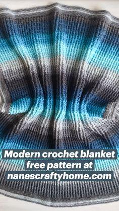 Crochet For Kids, Crochet Baby, Free Crochet, Knit Crochet, Modern Crochet Blanket, Crochet Blanket Patterns, Crochet Home Decor, Crochet Kitchen, Crochet Videos