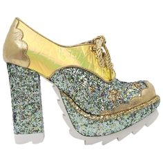 Pre-owned Irregular Choice Galaxy Chunky High Heeled Hologram Glitter... ($170) ❤ liked on Polyvore featuring shoes, hologram glitter, galaxy shoes, metallic shoes, lace up shoes, gold shoes and metallic gold shoes