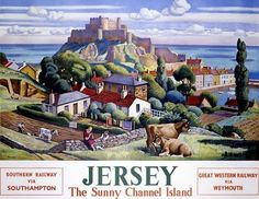 Vintage British Railways travel poster for Jersey, Channel Islands, dated Artwork by Adrian Paul Allinson. Posters Uk, Railway Posters, A4 Poster, Poster Prints, Poster Wall, Art Print, England Travel Poster, Jersey Vintage, Vintage Travel Posters