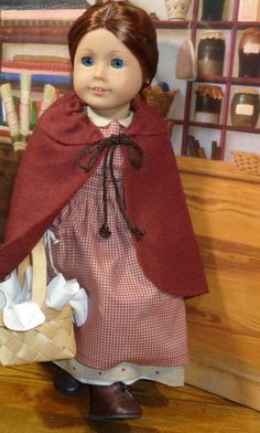 Winter Prairie Dress Pinafore and Cape for by SugarloafDollClothes