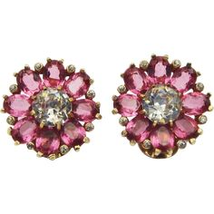 MAZER Pink Topaz and Diamante Crystal Floral Clip Earrings