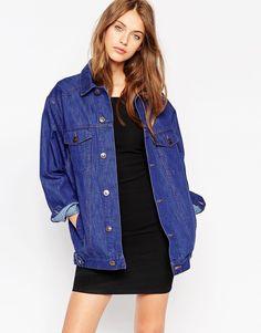 ASOS - Veste girlfriend en jean style 70 s - Bleu Veste, Tenues, Bijoux  Oreille acd28048aa23