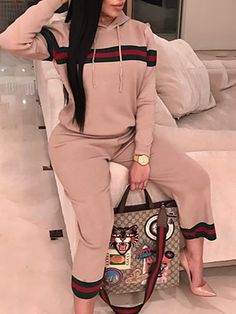 Pink Patchwork Drawstring Two Piece Hooded Casual Wide Leg Long Jumpsuit Sporty Outfits, Classy Outfits, Fashion Outfits, Jumpsuit Images, Two Piece Pants Set, Pantsuits For Women, Long Jumpsuits, Mode Hijab, Womens Fashion Online