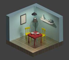 Dinner room - Low Poly  Blender - Cycles render 600 samples
