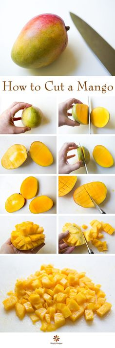 Cutting a mango is easy! Here are step-by-step instructions on how to cut a mango quickly and easily with minimal mess. On SimplyRecipes.com How To Cut Mango, How To Peel Mango, Mango Cut, How To Cut Avocado, Easy Mango Recipes, Mango Recipes Breakfast, Fruit Recipes, Potato Recipes, Step By Step