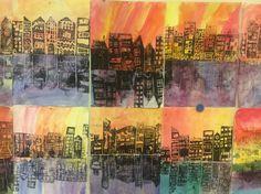 Kaupunki. Kylmät ja lämpimät värit. Grafiikka. Pressprint. 4lk.