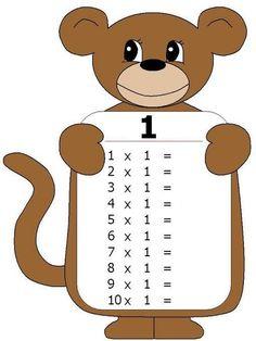 Tafel van 1 - zonder antwoorden (aangepaste versie van http://www.pinterest.com/source/proyectosytrabajosescolares.com/)