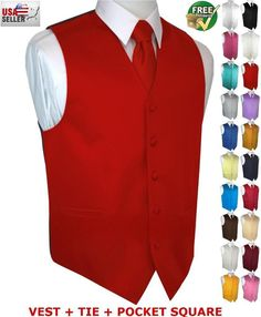 Bow-Tie set Prom Formal Wedding Cruise Men/'s Solid Satin Tuxedo Vest Dress