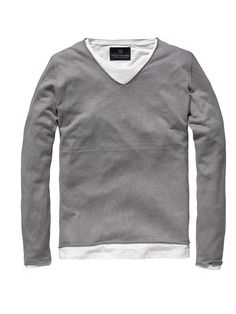Double Layer V-neck Pullover in Grey