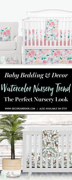 Watercolor is all the rage in baby bedding. We love how watercolor is bold yet beautiful. Shop tons of watercolor nursery bedding styles and items. Our watercolor designs feature all the nursery trends you could think of - farmhouse, floral, nautical, boho, cactus, and modern. Mix and match your watercolor baby bedding items to create the perfect nursery look. We love the idea of pairing our watercolor baby bedding with a watercolor feature wall somewhere in the nursery.