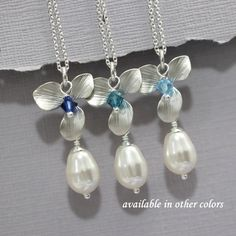 Swarovski White Pearl,  Blue Crystal and Orchid Necklace, Bridesmaid Necklace, Bridesmaid Jewelry, Bridesmaid Gift, Flower Girl Necklace