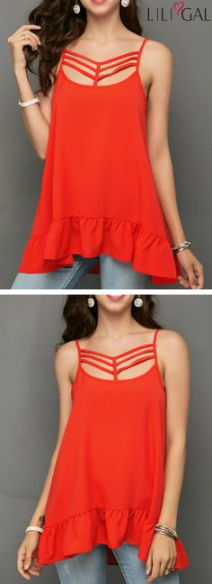Caged Front Ruffle Hem Orange Red Blouse #liligal #top #blouse #shirts #tshirt