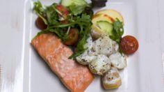 Salmon and Warm New Potato Salad Potato Salad, Salmon, Potatoes, Warm, Chicken, Meat, Recipes, Food, Kitchens