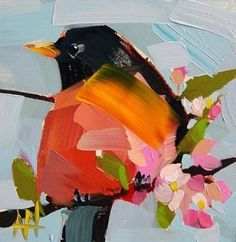 Love this fat red-breast! #OilPaintingLove #OilPaintingBirds