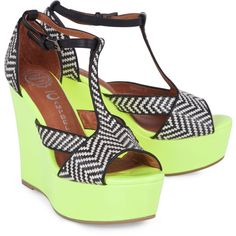 Jeffrey Campbell Tanya neon tribal wedges ($48) ❤ liked on Polyvore