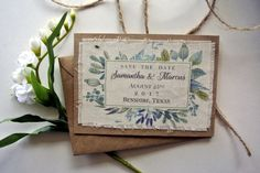 Watercolor Rustic Fabric Save the Date