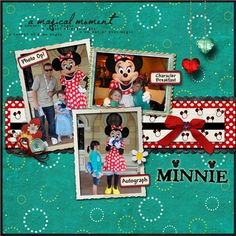Minnie Mouse is a favorite in my son's family...this is for two Circle challenges (SBVC161 and SIC90) and the theme park challenge (SIC93).  I used the Minnie head & white paper to make my own patterned paper.  Digital Designer Credits:  White Frame-Stacked Vintage frames-Katie Pertiet; Cream paper, ribbon, hearts, flowers, scalloped frame-With Love-LouCee Creations;  Black scallop border (Fireworks kit) & teal paper (Leave the World Behind kit)-Britt-ish Designs; White/ yellow flower, red…