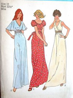 "Simplicity Dress Pattern No 7195 UNCUT Vintage 1970s Size 10 Bust 32 1/2"" Maxi Sleeveless Flutter or Puff Sleeves Front Midriff Nightgown on Etsy, $9.00"