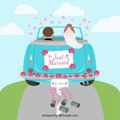 39 Ideas For Just Married Cars Illustration Wedding Images, Wedding Pics, Wedding Couples, Wedding Cards, Wedding Logos, Just Married Auto, Wedding Wishes Quotes, Movie Crafts, Indian Wedding Invitation Cards