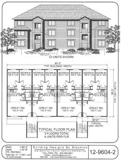12 plex | Apartment/House Plan Ideas | Pinterest | Buildings ...