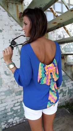 bow back multicolor top- cobalt. the rage
