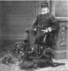 """Rudolf with his dogs His favourite dog was called """"Blacky"""""""
