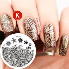 31 Designs Available Born Pretty Stamping Plate Lace Starfish & Shell Negative Space Leaves Flowers Animals Nail Template Different Nail Designs, New Nail Designs, Nagel Stamping, Born Pretty, Lace Nails, Stiletto Nails, Coffin Nails, Acrylic Nails, Best Gel Nail Polish