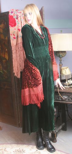 Vintage green velvet dress with smocking at waist.  Gypsy Moon...