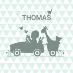 Geboortekaart silhouette jongetje in auto