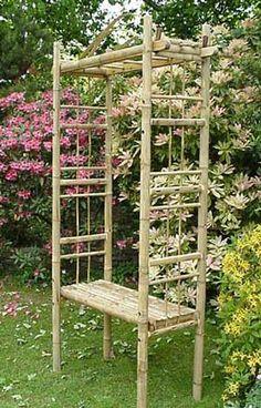 making a bamboo trellis - Norton Safe Search Bamboo Trellis, Bamboo Garden, Garden Trellis, Garden Gates, Pergola With Roof, Diy Pergola, Small Gardens, Outdoor Gardens, Bamboo Furniture