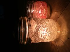 Mason jar centerpieces with stretch lace wraps and candles for my wedding! Plan My Wedding, Wedding 2017, Fall Wedding, Wedding Stuff, Our Wedding, Mason Jar Centerpieces, Mason Jar Lamp, Best Friend Wedding, Lace Wrap